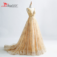 Amazing 2017 New Custom Made Cheap Gold Sparking Discount Long Formal Sext Amazing Vintage Arabic Evening