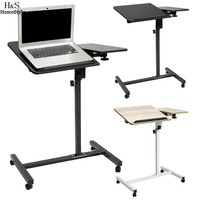 Homdox Wood Mobile Laptop Desk Angle Height Adjustable Moveable Pulley Rotated Bedroom Table Stand With Mouse