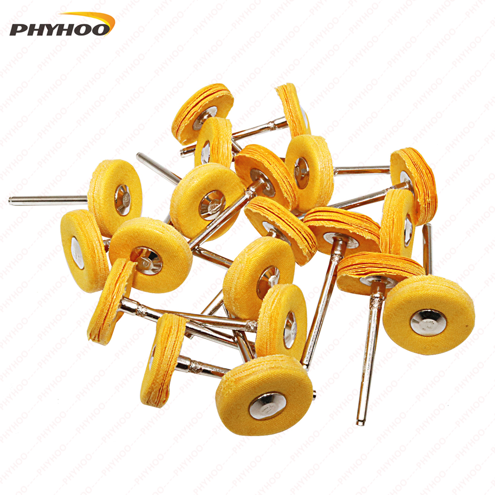 Yellow Muslin Polishing Buffing Wheel Buffs Set Fits Dremel Rotary Tools 2.35mm Shank 20 Pieces