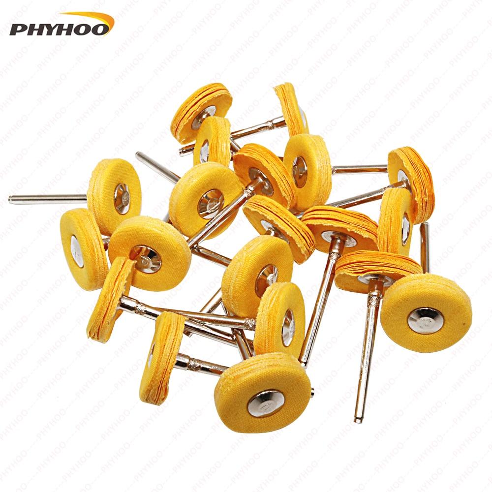 Yellow Muslin Polishing Buffing Wheel Buffs Set Fits Dremel Rotary Tools 2.35mm Shank 20 Pieces