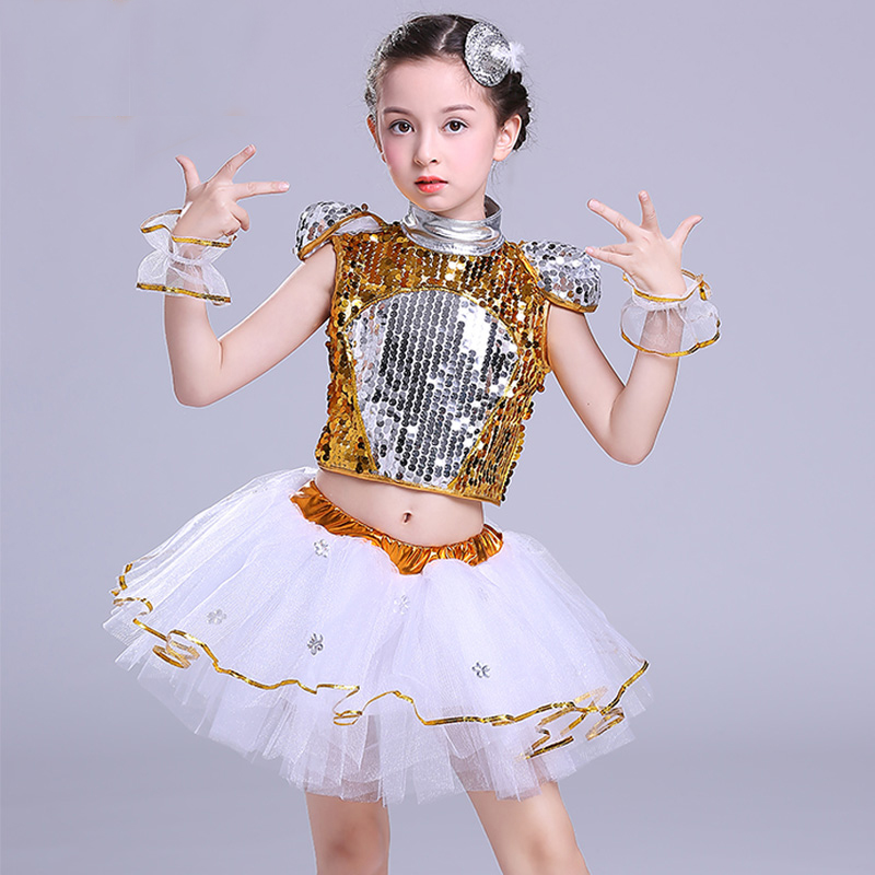 New Children's Jazz Dance Modern Cheerleading Costumes Hip Hop Boy Girls Crop Top And Pants Sequins Jazz Dance Performance Set