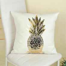 Bronzing Christmas Cushion Cover Gold Printed Pillow Decorative Soft Case New
