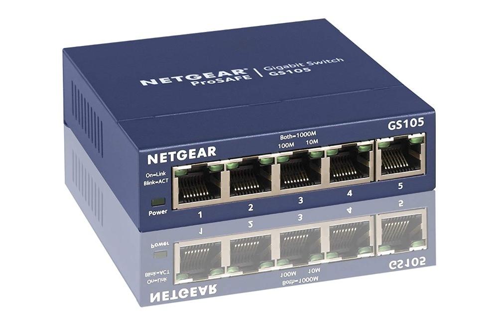 Original Netgear GS105 5-Port 10/100/1000 Gigabit Ethernet ,Bandwidth 10 Gbps ,Unmanaged Desktop Switch