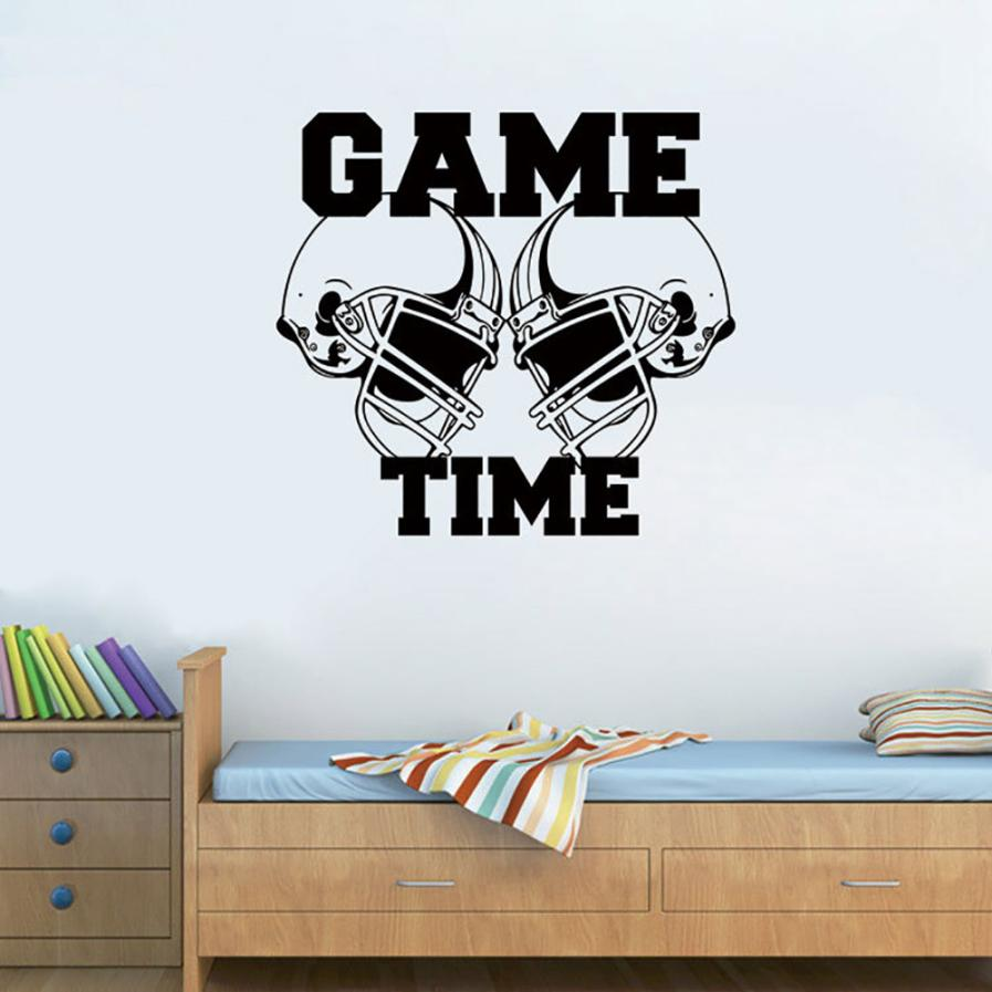 House LC New American Football Helmets Game Time Sports Wall Sticker Vinyl Art Decor Decal 18Mar19 Drop Ship F