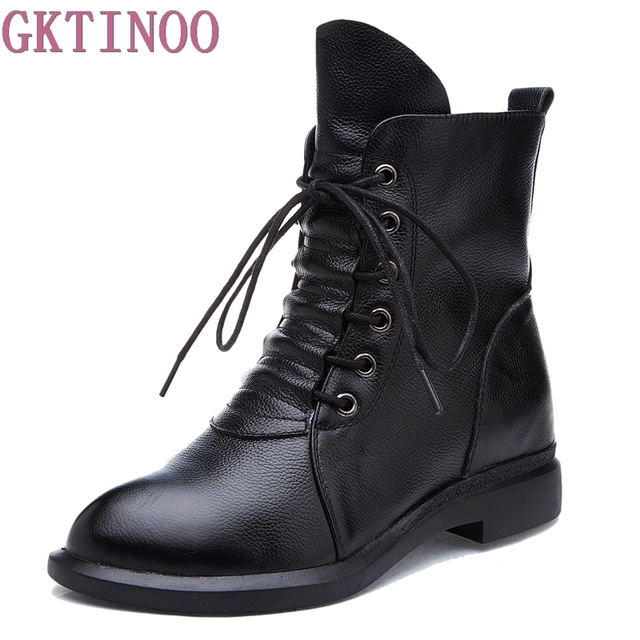 Women Boots Round Toe Lace Up Low Heel Mid Calf Boots Waterproof Patent Leather Martin Boots