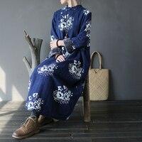 Women Warm Winter Fleece Cotton Jacquard Dress Ladies Floral Thick Dress Female Casual Retro Vintage Dress