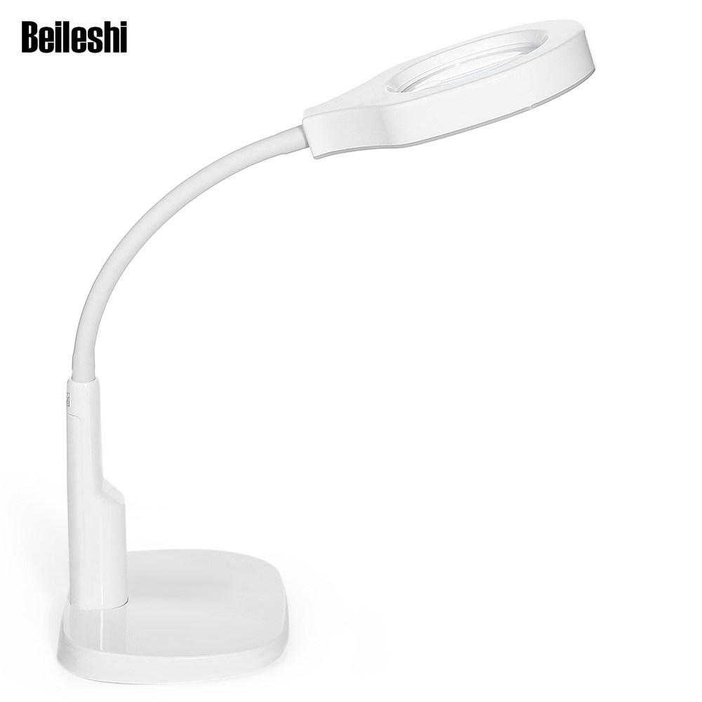 Beileshi lupa plegable 5X/12X escritorio lupa con lámpara lente para la arqueología prospección lectura