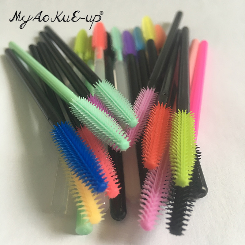 200pcs/lot Makeup Eyelashes Brushes Disposable Mascara Brush For Eyelash Extension Mascara Applicator Wands Colors Make Up Brush