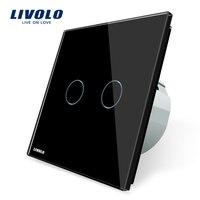 Free Shipping Livolo EU Standard VL C702 12 Black Crystal Glass Panel 2 Gangs 1 Way