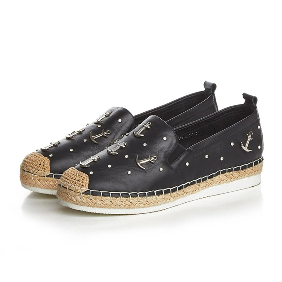 ФОТО First layer leather metal decorative microfibre lining wear-resistant anti-slip rubber boom at the end of female fisherman shoes
