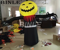 Outdoor giant inflatables Halloween decoration attractive Pumpkin ghost with led for shop