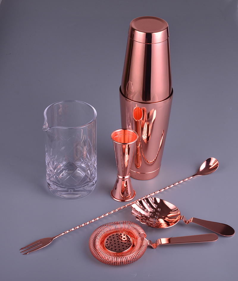 Copper Version 6 Piece Bar Set Boston Cocktail Shaker Bartending Set Including Mixing Glass-in Bar Sets from Home & Garden    2