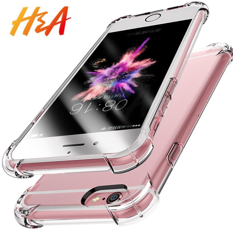Galleria fotografica H&A Anti-knock Transparent Phone Case For iPhone 7 5 5s SE 6 6s 8 Plus Soft Silicone TPU Cover For iPhone 6 7 8 Plus Case