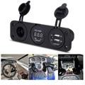 hot sale new SALE Car Auto 12V 2 USB Cigarette Lighter Sockets Adapter Blue LED Charger Voltmeter Free Shipping