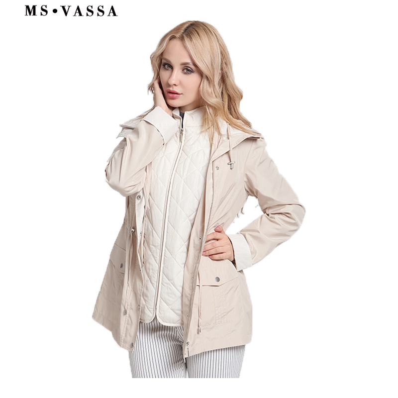 MS VASSA Ladies Jackets New Autumn women coats casual 2 in 1 hidden hood at collar