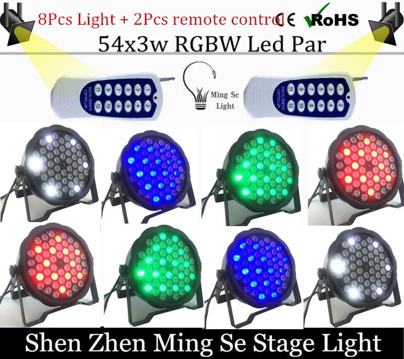 ФОТО 8Pcs/lots l 54X3W RGBW LED Par Light LED PAR DMX512 controller led lights with 2pcs Remote control disco lights DJ equipment