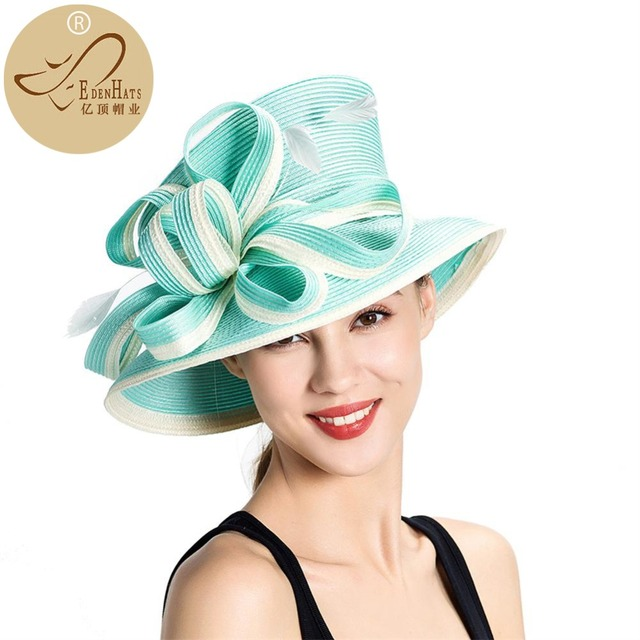 Elegant fashion fancy church Hats for Women with bowknot Wedding Summer  Derby Hat S10-3705 53f73c29777
