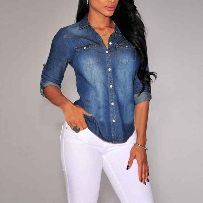 Vrouwen Revers Button Blauw Down Denim Jean Shirts Pocket Slim Top Blouse Jas Nieuwe Collectie