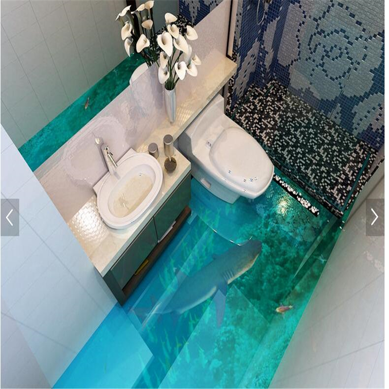 Room Living Cafe Bar Guest Bathroom Bedroom Can Be 3D Floor Sea World Shark Super Real Tile