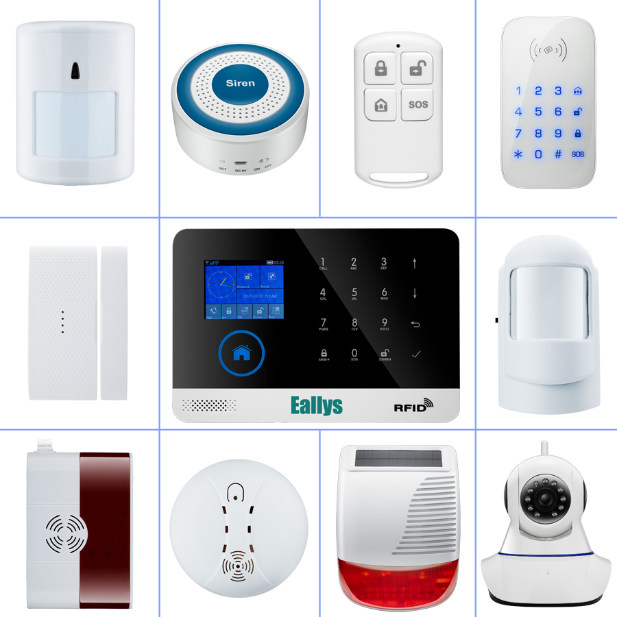 wireless alarm accessories glass/vibration/door/pir/siren/smoke/gas/water sensor for home security wifi GSM SMS alarm system 1set home security protection gsm sms wireless alarm system pir motion detector smoke alarm magnet door sensor wireless siren