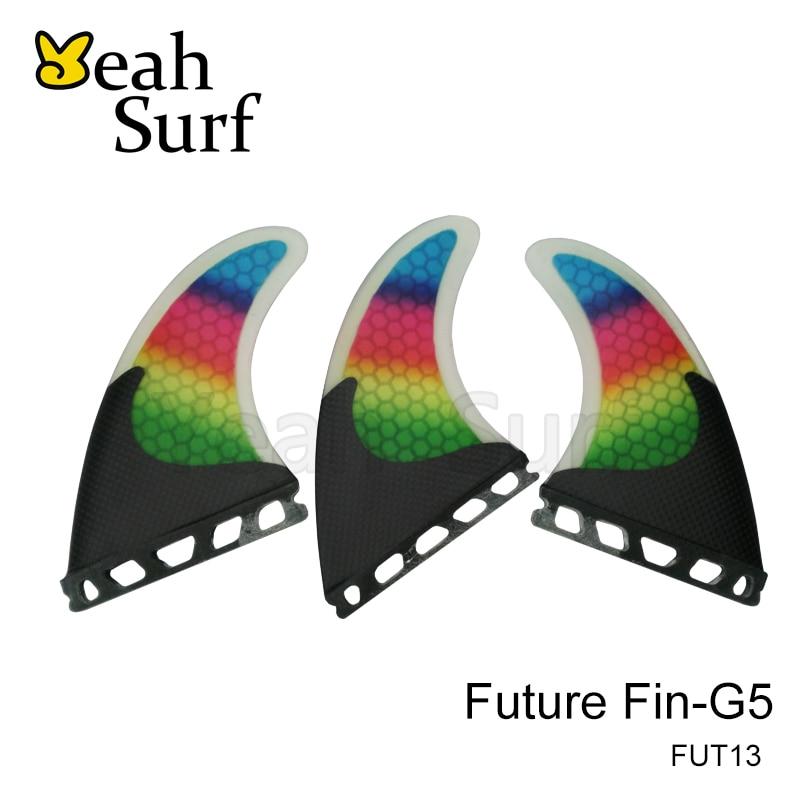Future / FCS Fin G5 Surfbræt Fin, Rainbow Carbon Fiberglassfin, M Størrelse Fin til Salg, Gratis forsendelse prancha quilhas de