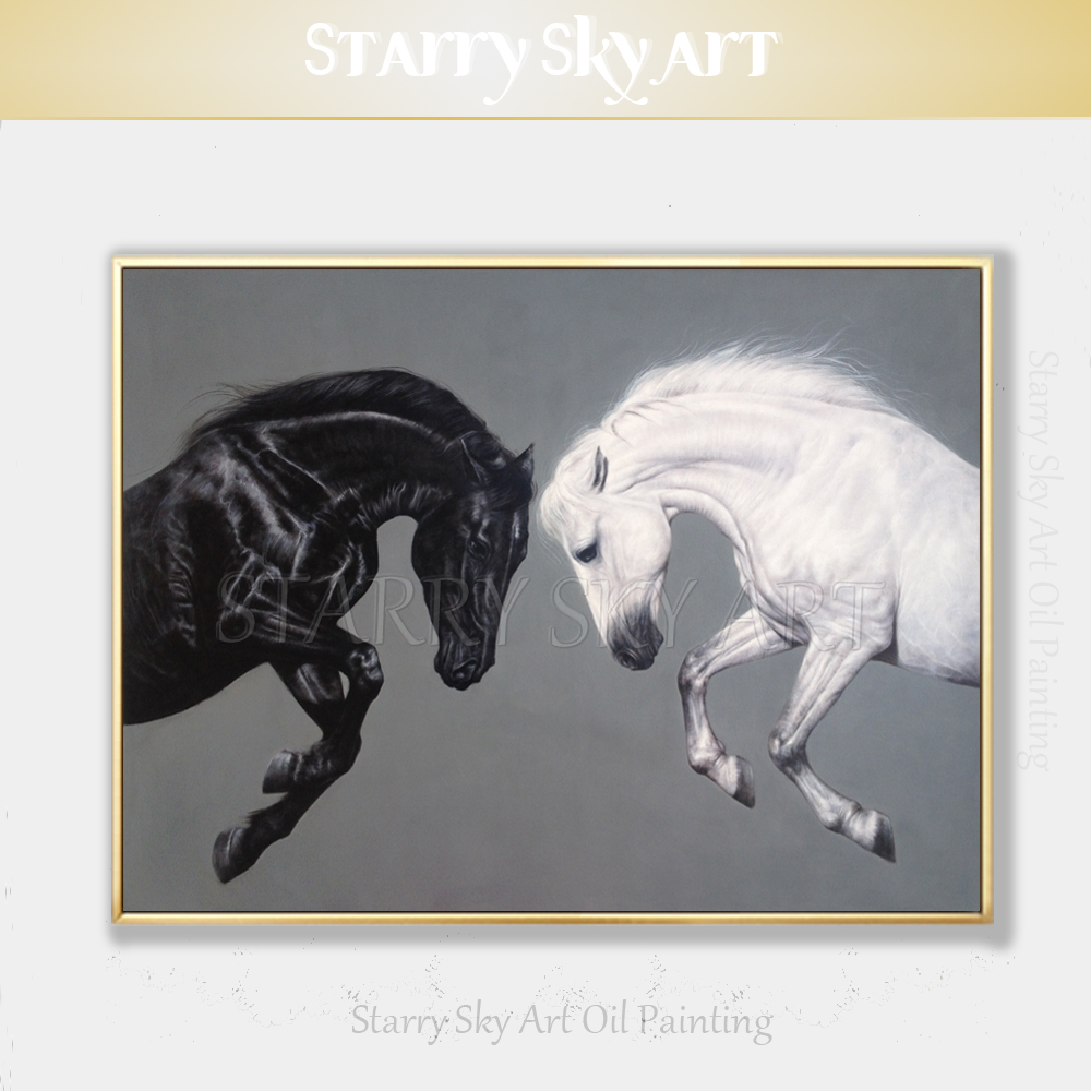 Top Artist Hand-painted High Quality Animal Horse Oil Painting Handmade Black and White Horses Oil Painting for Wall DecorationTop Artist Hand-painted High Quality Animal Horse Oil Painting Handmade Black and White Horses Oil Painting for Wall Decoration