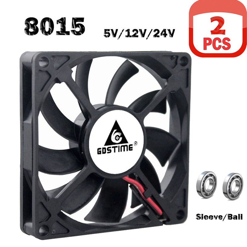 2PCS Gdstime Computer Case Fan 80*80*15mm 80mm Brushless 24V 12V 5V  8015 Ball Sleeve Cooling Cooler Fan CPU PC Laptop Fan2PCS Gdstime Computer Case Fan 80*80*15mm 80mm Brushless 24V 12V 5V  8015 Ball Sleeve Cooling Cooler Fan CPU PC Laptop Fan