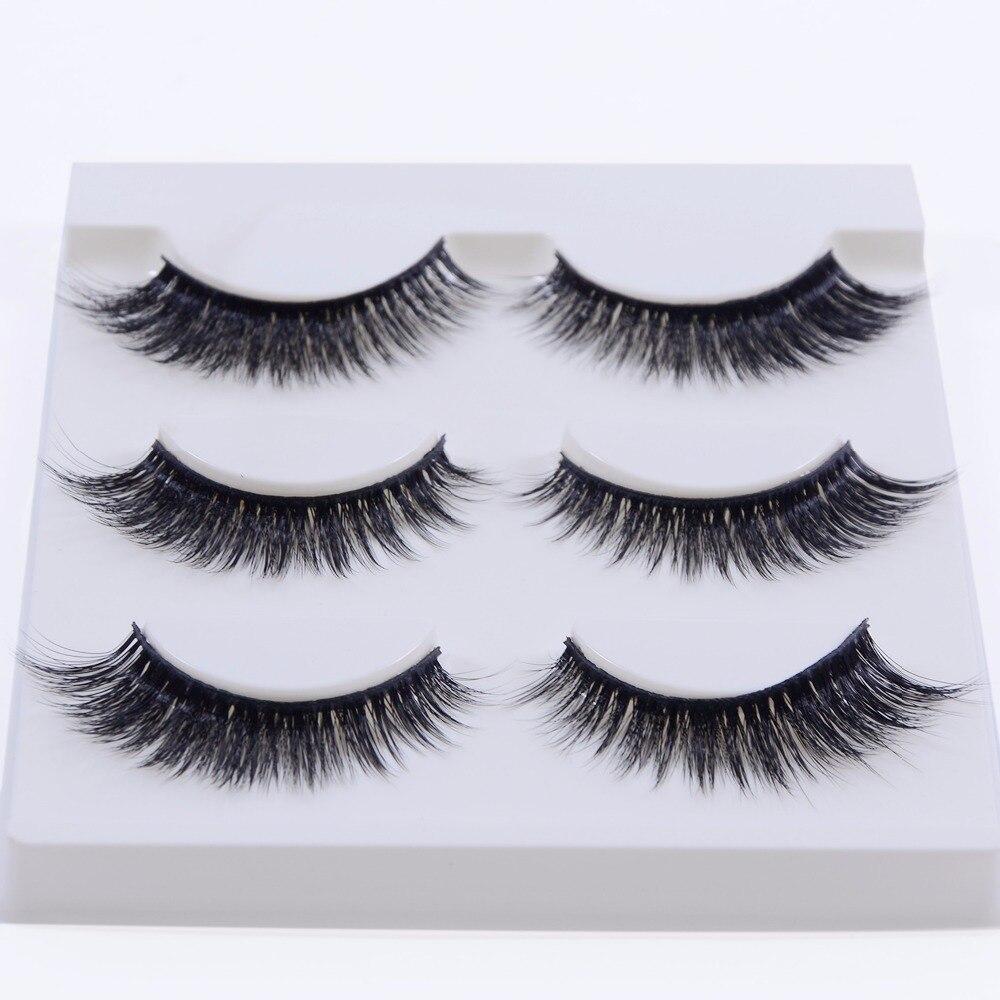 New 3 pairs natural false eyelashes fake lashes long makeup 3d mink lashes extension eyelash mink eyelashes for beauty 3D-12
