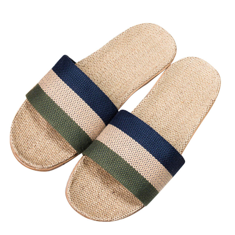 Fashion Male Summer Home Striped Linen Non-slip Breathable Slippers Men Indoor\Floor Beach Boys Open-Toed Slippers Shoes #35 fayuekey new fashion summer home striped linen slippers women indoor floor non slip beach slides flat shoes girls gift
