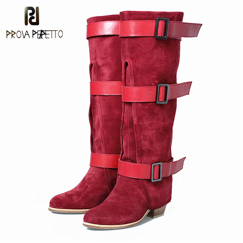 Prova Perfetto Original Genuine Leather with Buckle Strap Mixed Colors Long Boots Cow Suede Leather Pointed Toe Winter BootsProva Perfetto Original Genuine Leather with Buckle Strap Mixed Colors Long Boots Cow Suede Leather Pointed Toe Winter Boots
