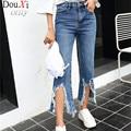 Mola calças de Brim Das Mulheres Buraco Femme Sexy Calça Jeans de Cintura Alta mulheres calças de Brim calças de Comprimento No Tornozelo Cowboy Jeans Rasgado Para As Mulheres do Sexo Feminino calças