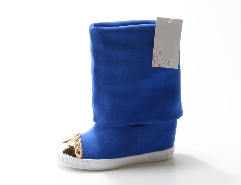 Newest Design Suede Winter Women Knee High Boots Gold Metal Chain Hidden Wedges Shoes Blue Fold Over Winter Boots trendy metal and rhinestones design women s knee high boots