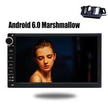 7 Inch 2Din Car Stereo Android 6.0 GPS Navigation Head Unit Audio Radio 1080P Video Player Wi-Fi BT AM/FM/ Free Rearview Camera