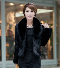 Free shipping  Fur faux fur coat mink hair rex rabbit hair cape jacket  fur overcoat imitation rabbit fur faux fox collar