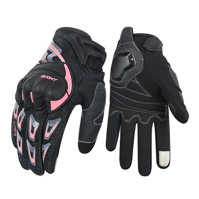 SUOMY motorcycle gloves women men summer breathable Pink touch screen moto gloves for motocross motorbike Racing Riding