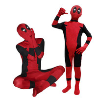 Cool Halloween KIds Deadpool Costume Red Full Body Spandex Boy Deadpool Cosplay Costumes Wholesale For Kids