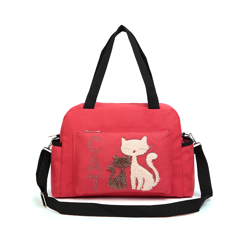 2017 Women Handbags Solid Color Canvas Bag Fashion Ladies Shoulder Bag With Cute Cat Appliques Portable Big Capacity Casual Tote