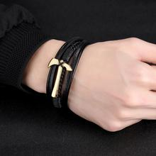 Misheng 2019 New Fashion Mens Leather Bracelet Stainless Steel Gold Axe Anchor Personality Jewelry Boyfriends Gift Accessories