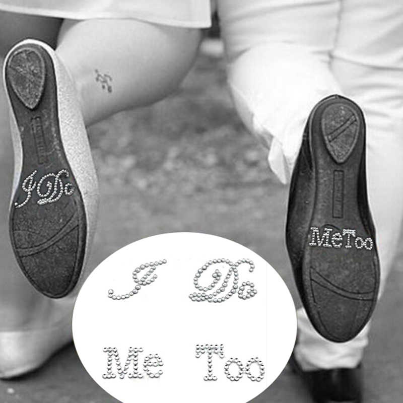 1 Set I Do Me Too novia novio zapato pegatina blanco claro Diamante de imitación boda decoración