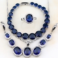 Blue Sapphire White Created Topaz Jewelry Sets 925 Sterling Silver For Women Wedding Earrings/Bracelet/Pendant//Necklace S8004