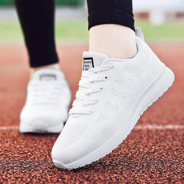 Factory Direct Women Casual Shoes Fashion Breathable Walking Mesh Flat Shoes Sneakers Women 2019 Gym Vulcanized Tenis Feminino 2