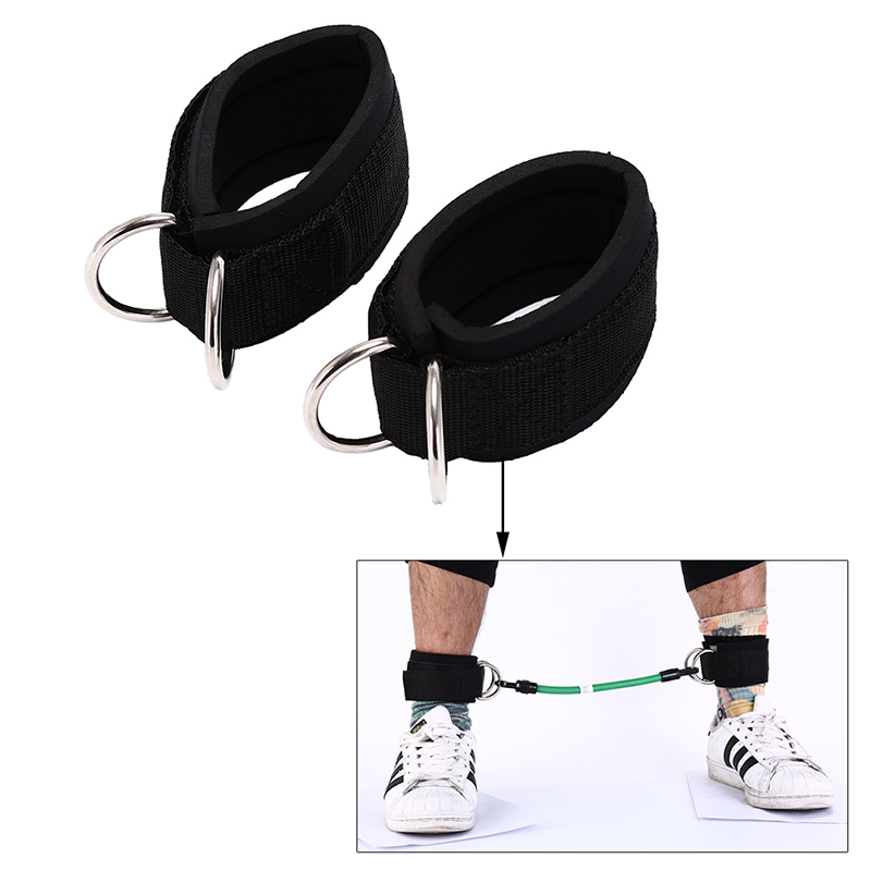 2pcs/lot 24m Sport Ankle Strap Padded Adjustable D-ring Ankle Cuffs For Gym Workouts Cable Machines Butt Leg Weights Exercises Aesthetic Appearance Ankle Support Sports & Entertainment