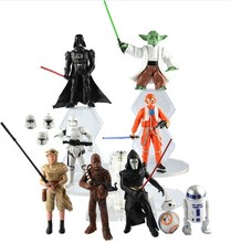 NEW hot ! 9pcs/set 10-15cm Star Wars 7 The Force Awakens R2-D2 C-3PO Darth Vader shine action figure toys Christmas doll