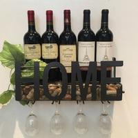 Wall Mounted Metal Wine Rack 4 Long Stem Glass holder Wine Cork Storage 58x22x12cm