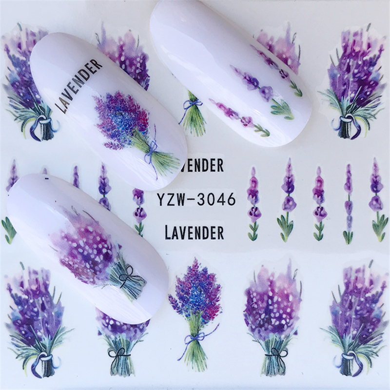 YWK 1 PC 2020 Lavender Bouquet Water Sticker Nail Art Decorations Purple Blooming Flower Slide Beauty Nail Decals