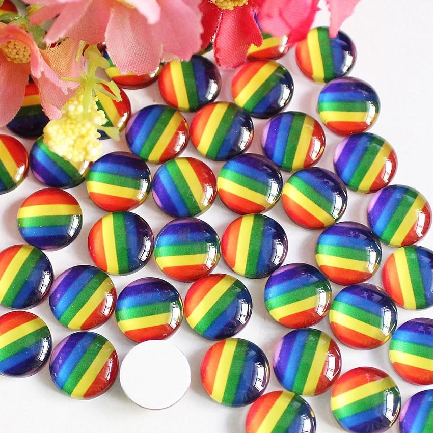 12mm 20mm  Rainbow  Round Glass Cabochon Flatback Photo Base Tray Blank DIY Making Accessories K05433