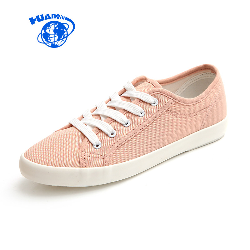 HUANQIU 2017 New Female Pink Shoes Women Canvas Shoes Flat Heel Yellow Casual Vulcanized Shoes Cloth Preppy Style Size 35-40 huanqiu white women vulcanize canvas shoes low breathable female solid color flat shoes casual candy colors leisure cloth shoes