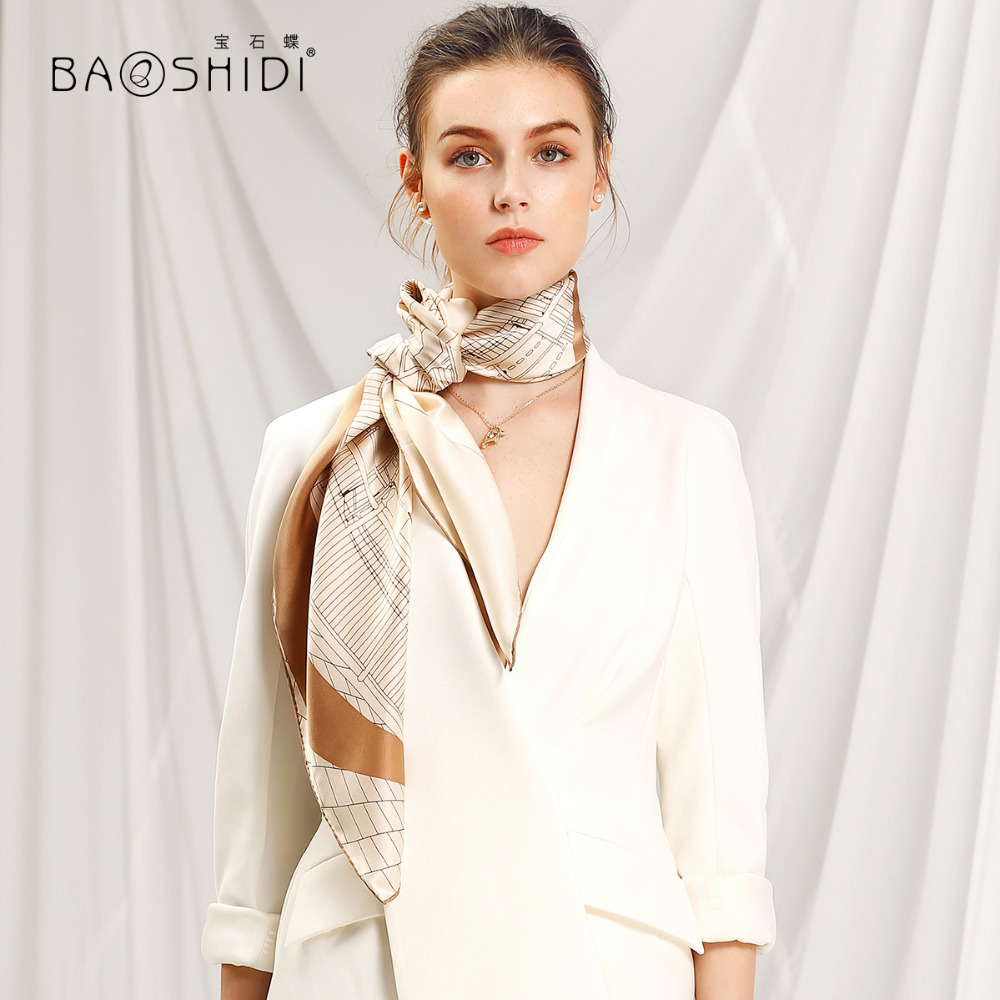 BAOSHIDI 2018 Spring fashion silk scarf free style women 100 silk shawl 90x90 square hand