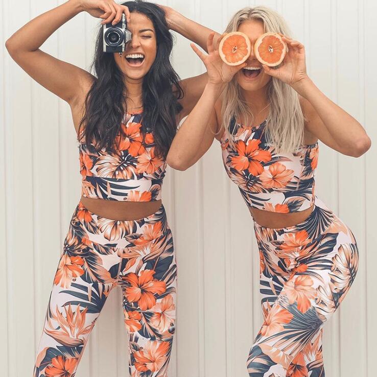 EOEODOIT Women Gym   Leggings   Sets Sportwear 2 pcs Empire Pants Print Flower High Waist Elastic Breathable Fitness Hip Push Up Bra