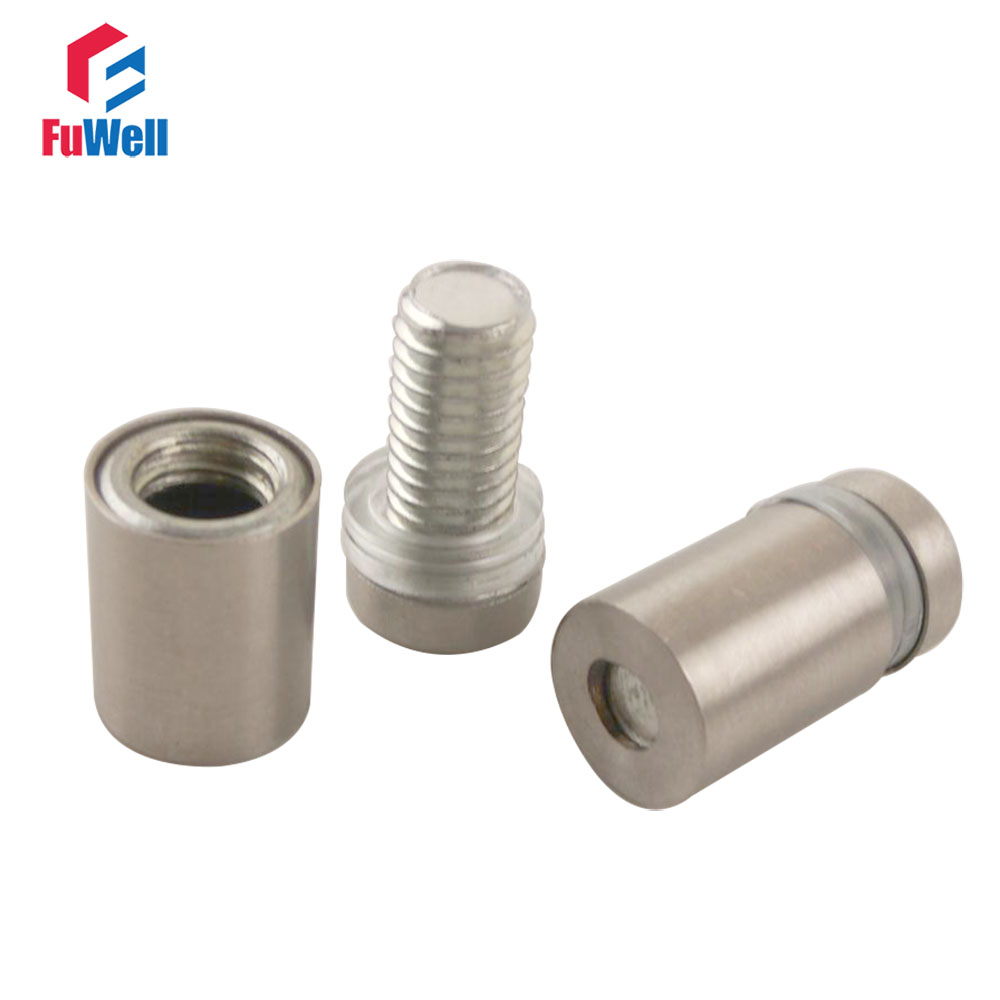 20 Pcs 12mm x 30mm Stainless Steel Frameless Standoff Clamp for Glass